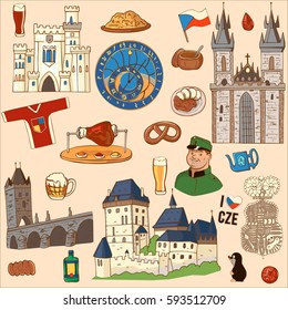 Czech Republic symbol. Set of icons and symbols Czech Republic: Charles bridge, watch, boar knee, ruby, national dishes, castle.