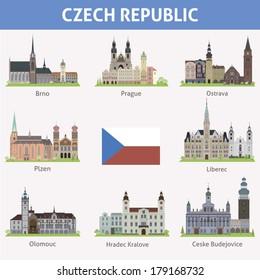 Czech republic. Symbols of cities. Vector set
