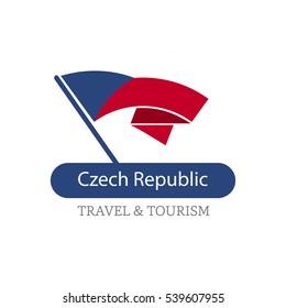 Czech Republic The Travel Destination logo - Vector travel company logo design - Country Flag Travel and Tourism concept t shirt graphics - vector illustration