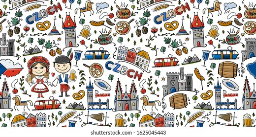 Czech Republic. Travel illustration with Czech landmarks, people and food. Seamless pattern design. Vector illustration