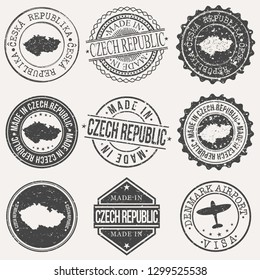 Czech Republic Travel Stamp Made In Product Stamp Logo Icon Symbol Design Insignia.