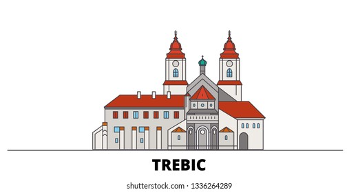 Czech Republic, Trebic flat landmarks vector illustration. Czech Republic, Trebic line city with famous travel sights, skyline, design.
