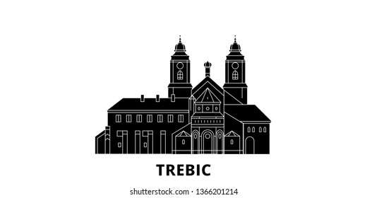 Czech Republic, Trebic flat travel skyline set. Czech Republic, Trebic black city vector illustration, symbol, travel sights, landmarks.