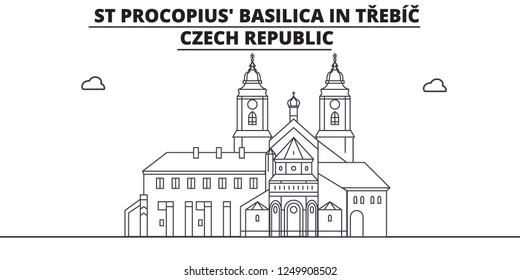 Czech Republic - Trebic, St Procopius Basilica travel famous landmark skyline, panorama, vector. Czech Republic - Trebic, St Procopius Basilica linear illustration
