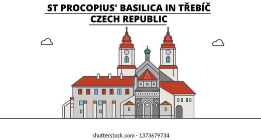Czech Republic , Trebic, St Procopius Basilica ,  travel skyline vector illustration.