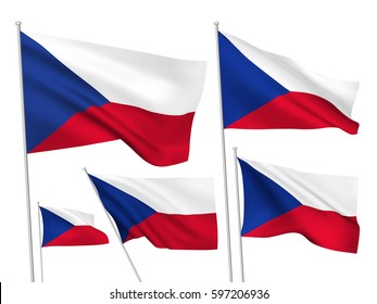 Czech Republic vector flags set. 5 wavy 3D cloth pennants fluttering on the wind. EPS 8 created using gradient meshes isolated on white background. Five flagstaff design elements from world collection