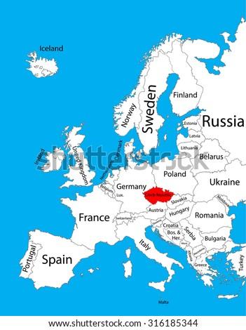 Czech Republic Vector Map Europe Vector Stock Vector (Royalty Free