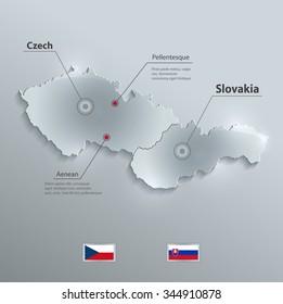 Czech Slovakia map flag glass card paper 3D vector Czechoslovakia separate maps
