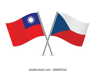 Czech and Taiwanese flags. Vector illustration.