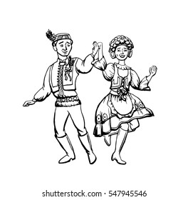 Czech traditional clothes vector illustration. Man and woman dan