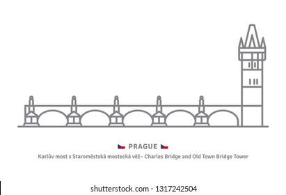 Czechia landmark line icon. Charles bridge with Old Town Bridge tower and Czech flag vector illustration.