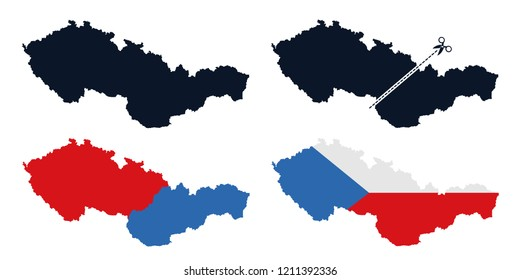 Czechoslovakia - former state is separated into Czech Republic / Czechia and Slovakia after breaup. Dissolution and secession of European country in Central Europe. Vector illustration