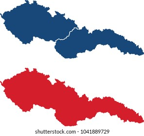 Czechoslovakia map (before 1938, blank and border separated)