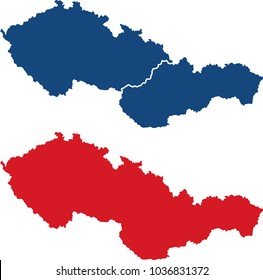 Czechoslovakia map (blank and border separated)