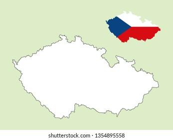 Czechoslovakia map with national flag
