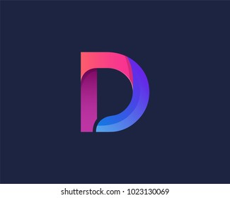 D Alphabet letter logo. Abstract Colorful logotype vector design template.