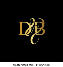 D & B / DB logo initial vector mark. Initial letter D & B DB luxury art vector mark logo, gold color on black background.