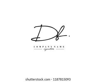 D B DB Signature initial logo template vector