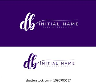 D B Initial handwriting logo vector. Hand lettering for designs.