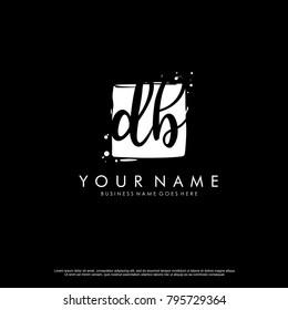 D B initial square logo template vector