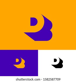 D, B logo concept. D letter with shadow like letter B on a different backgrounds. Network, web, UI icon. R is a shadow of B letter.