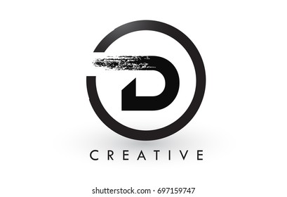 D Brush Letter Logo Design with Black Circle. Creative Brushed Letters Icon Logo.