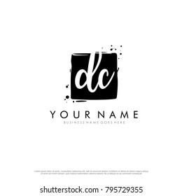 D C initial square logo template vector