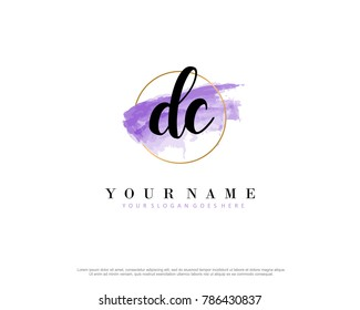 D C Initial water color logo template vector