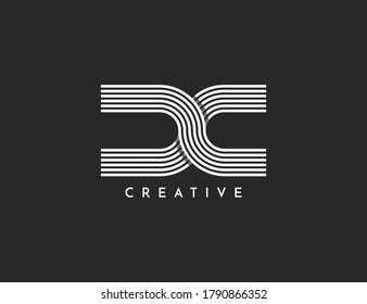 D C joint logo lined letter vector illustration design template.Elegant,luxury and clean design isolated on background.