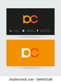 D & C Letter logo design vector element with Business card