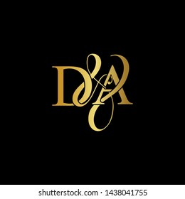 D & A / DA logo initial vector mark. Initial letter D & A DA luxury art vector mark logo, gold color on black background.