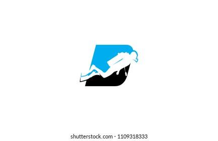 D diving under the logo