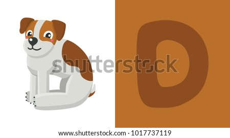 e625b853b D is for Dog. Letter C. Dog, funny cute illustration. Animal alphabet