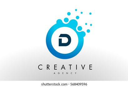 d Dots Letter Logo. Blue Bubble Design Vector Illustration.