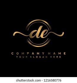 D E Initial handwriting logo vector
