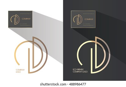 D and E letters combination logo. Company brand identity. Tree crown inscribed in the logo. Business card template included.