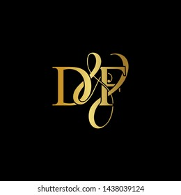 D & F / DF logo initial vector mark. Initial letter D & F DF luxury art vector mark logo, gold color on black background.