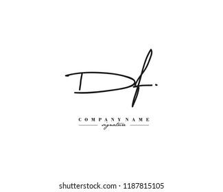 D F DF Signature initial logo template vector