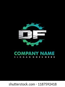 D F Initial with gear template vector