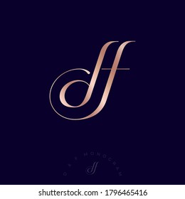 D and F letters. D, F monogram consist of Interlocking letters. Gold letters combined, isolated on a dark background. Luxury monogram for jewelry, clothes, fashion salon, online store, lingerie.