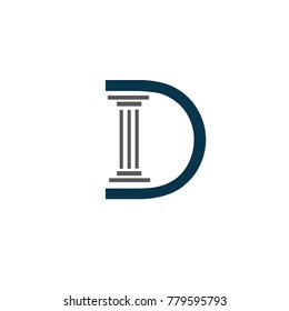D font law logo flat vector template