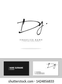 D G DG initial logo signature vector. Handwriting concept logo.