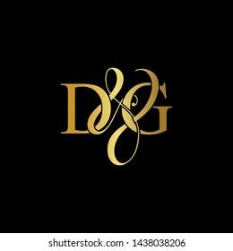 D & G / DG logo initial vector mark. Initial letter D & G DG luxury art vector mark logo, gold color on black background.