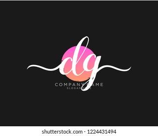 D G Initial handwriting logo vector