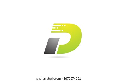 D grey black green letter logo alphabet design icon for business and company. Suitable for catchy logotype