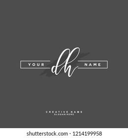 D H DH Initial logo template vector