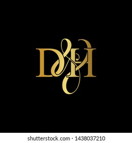 D & H / DH logo initial vector mark. Initial letter D & H DH luxury art vector mark logo, gold color on black background.