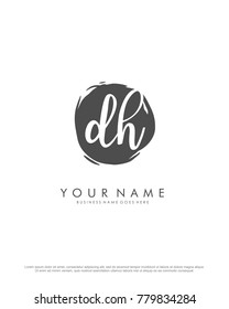 D & H initial splash logo template vector