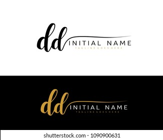 D D Initial handwriting logo vector. Hand lettering for designs.