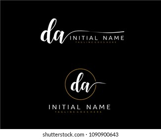 D A Initial handwriting logo vector. Hand lettering for designs.